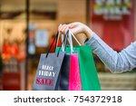 closeup woman holding shopping