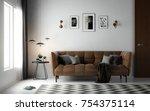 interior living room ... | Shutterstock . vector #754375114