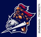 paladin knight mascot logo of... | Shutterstock .eps vector #754380274