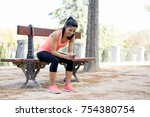 young beautiful and fit sport... | Shutterstock . vector #754380754