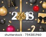 new year 2018 banner design... | Shutterstock .eps vector #754381960