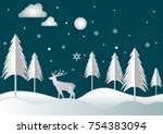 vector night trees and cloud... | Shutterstock .eps vector #754383094