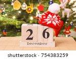 date 26 december with woolen... | Shutterstock . vector #754383259
