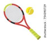 tennis racket and ball   ball... | Shutterstock .eps vector #754390729