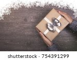 people hand holding christmas... | Shutterstock . vector #754391299
