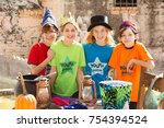 four friends stand together... | Shutterstock . vector #754394524