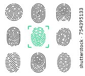 collection of fingerprints ... | Shutterstock .eps vector #754395133