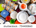 a lot of tableware. view from... | Shutterstock . vector #754400860