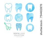 set of dental clinic logo.... | Shutterstock .eps vector #754402870