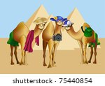three camels as tourists in... | Shutterstock .eps vector #75440854