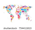 world map with pattern of... | Shutterstock .eps vector #754411813