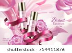 cosmetic skin care ads  pink... | Shutterstock .eps vector #754411876