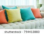 closeup colorful pillows on sofa   Shutterstock . vector #754413883