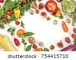 vibrant fresh food assortment... | Shutterstock . vector #754415710