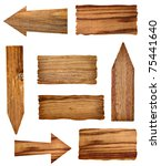 collection of wooden signs on... | Shutterstock . vector #75441640