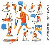 run watercolor set. running ... | Shutterstock . vector #754416976