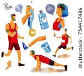 run watercolor set. running ...   Shutterstock . vector #754417486
