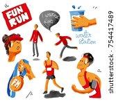 run watercolor set. running ...   Shutterstock . vector #754417489