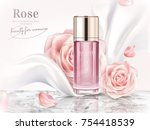 Stock vector rose toner ads elegant cosmetic advertising with roses petals and pearl white chiffon in d 754418539