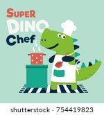 cute and smiling dinosaur in... | Shutterstock .eps vector #754419823