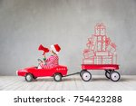 happy child in christmas time.... | Shutterstock . vector #754423288