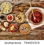 traditional italian vegetarian... | Shutterstock . vector #754431514