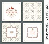 christmas greeting card vector...   Shutterstock .eps vector #754432564