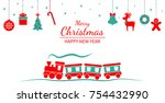 christmas ornament hanging.... | Shutterstock .eps vector #754432990