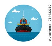 Tugboat Icon  Front View Of Th...