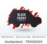 black friday super sale badge.... | Shutterstock .eps vector #754433434