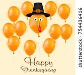 happy thanksgiving day... | Shutterstock .eps vector #754436416