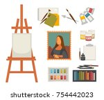 artist painting tools and... | Shutterstock .eps vector #754442023