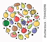 fruits and vegetables poster of ... | Shutterstock .eps vector #754442098