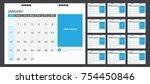calendar for 2018 blue... | Shutterstock .eps vector #754450846