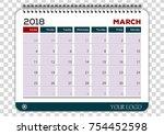march 2018. calendar planner... | Shutterstock .eps vector #754452598