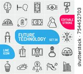 future technology icon set.... | Shutterstock .eps vector #754452703