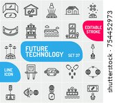 future technology icon set.... | Shutterstock .eps vector #754452973