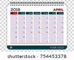 april 2018. calendar planner... | Shutterstock .eps vector #754453378