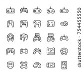 gamepads icon set in thin line... | Shutterstock .eps vector #754455550