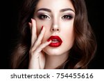 fashion woman portrait on black ... | Shutterstock . vector #754455616
