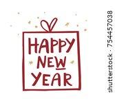 new year hand drawn... | Shutterstock .eps vector #754457038