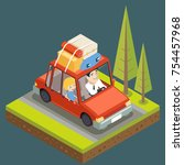 family  car trip road forest...   Shutterstock .eps vector #754457968