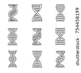 dna icon set. isolated on a... | Shutterstock .eps vector #754458199