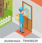isometric express courier... | Shutterstock .eps vector #754458229