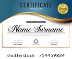 certificate template luxury and ... | Shutterstock .eps vector #754459834