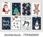 christmas cards set with doodle ... | Shutterstock . vector #754460404