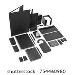 set of black elements for... | Shutterstock . vector #754460980