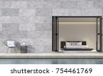 modern loft style bedroom... | Shutterstock . vector #754461769