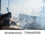 burned house  fire disaster ...   Shutterstock . vector #754465900