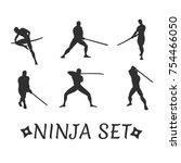 vector set of ninja in... | Shutterstock .eps vector #754466050